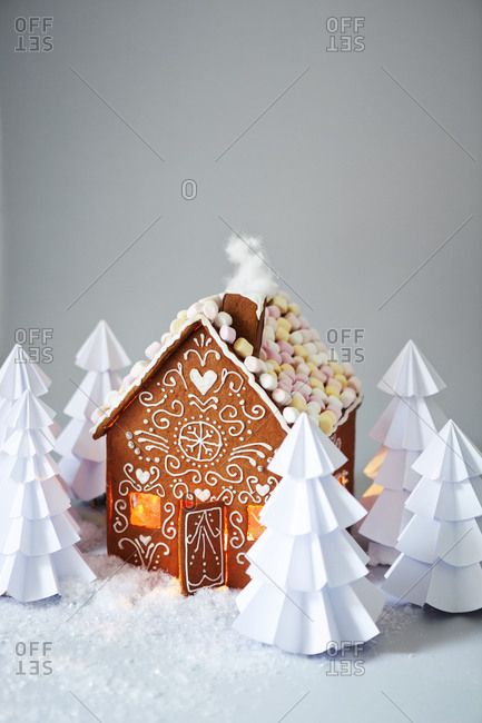 Gingerbread house with paper trees