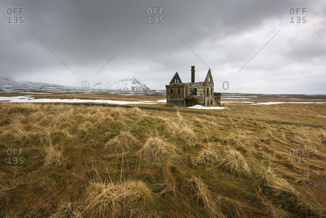 Abandoned house in a tundra field near Snaefellsnes, Iceland