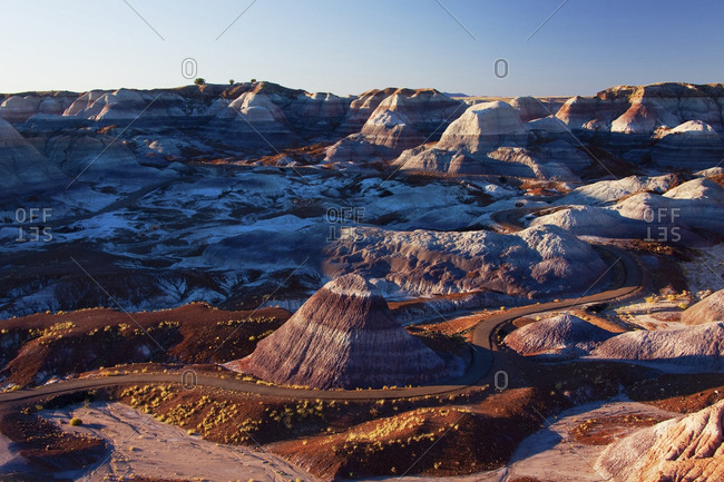 Rock formations in mountainous remote landscape,