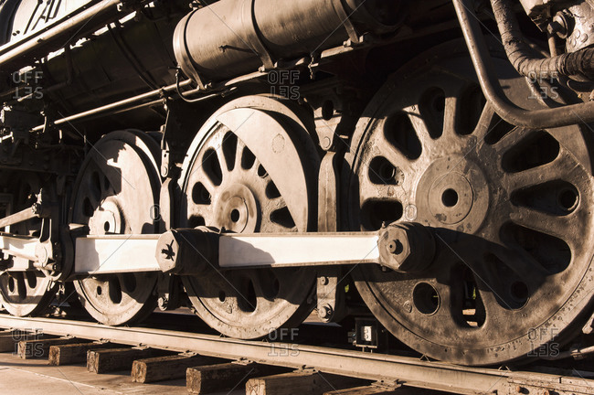 Close up of train wheels on tracks