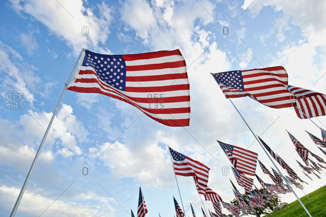Low angle view of American flags under blue sky