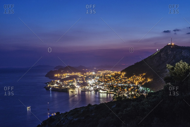 Aerial view of Dubrovnik at night