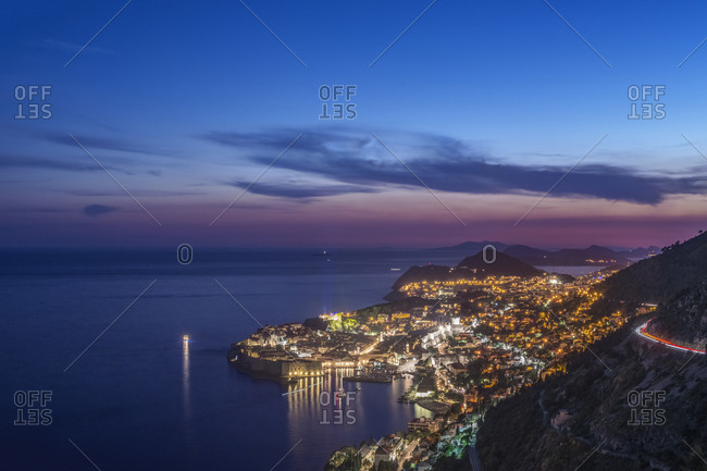 Aerial view of Dubrovnik illuminated at night