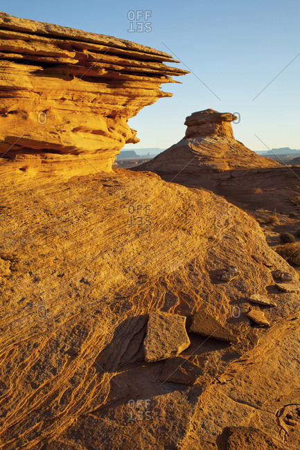 Rock formations in desert landscape, Page, Arizona, United States
