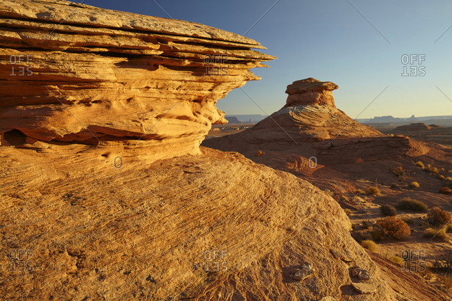 Rock formations in desert landscape in Page, Arizona, United States