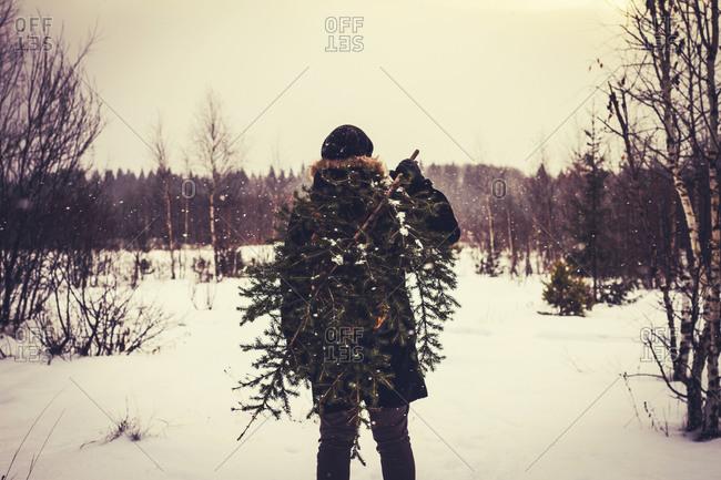 Man carrying tree in snowy field