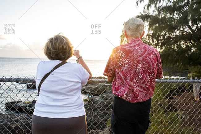Older couple admiring scenic view of ocean