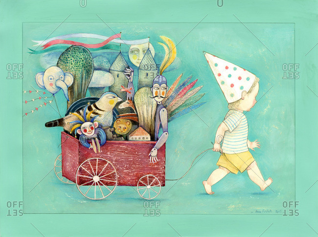 A boy pulling a wagonload of toys