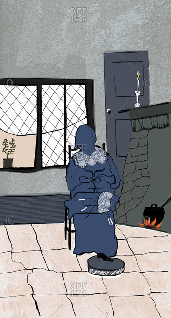Woman sitting by a hearth making lace