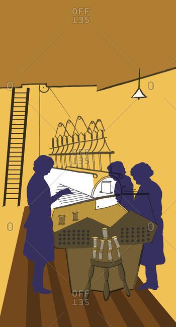Silk weavers working at an industrial loom