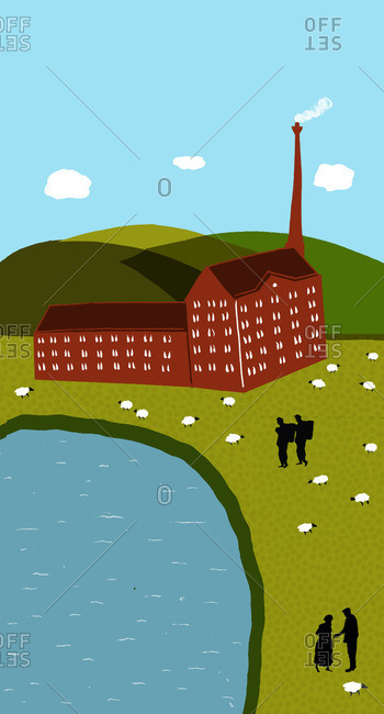 Workers and sheep outside of an industrial wool mill