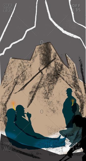 Tin miners taking a break underground