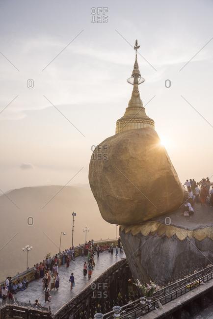Pilgrims at Golden Rock Stupa, Myanmar