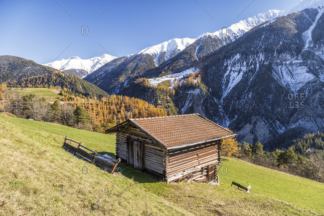 Wooden cabin in the Swiss Alps