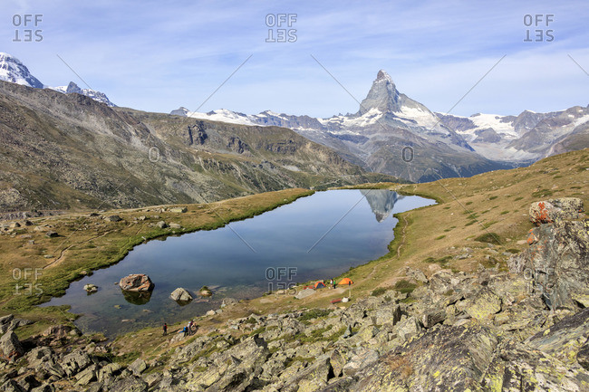 Matterhorn reflected in Lake Stellisee, Switzerland