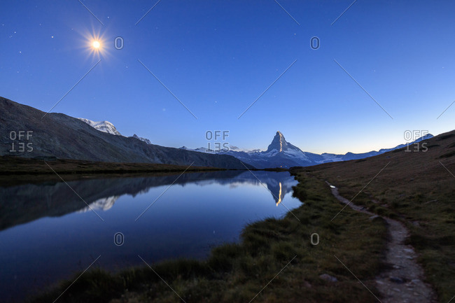 Full moon and Matterhorn, Switzerland