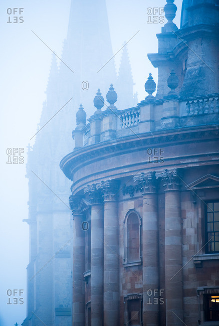 Buildings in the mist, Oxford, England