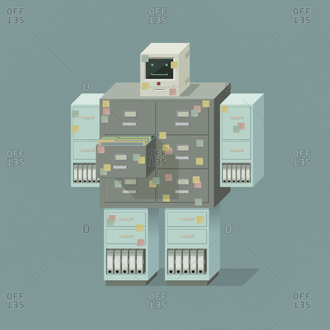Smiling robot shaped like a filing cabinet and pc computer terminal