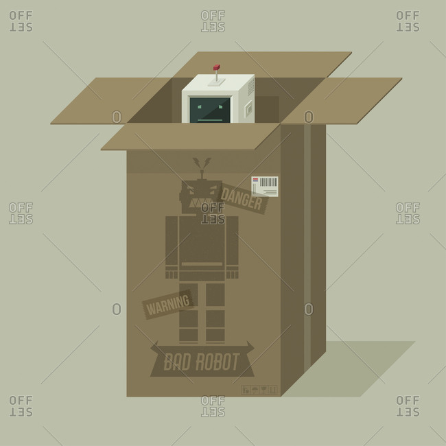 An open cardboard box with a bad robot peeking out