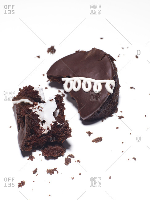 A smashed chocolate snack cake