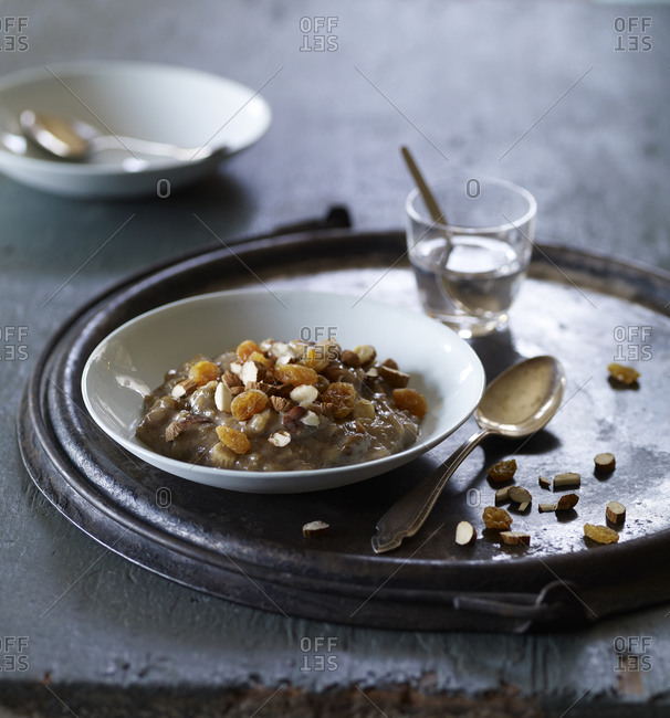 Rice pudding with nuts and fruit