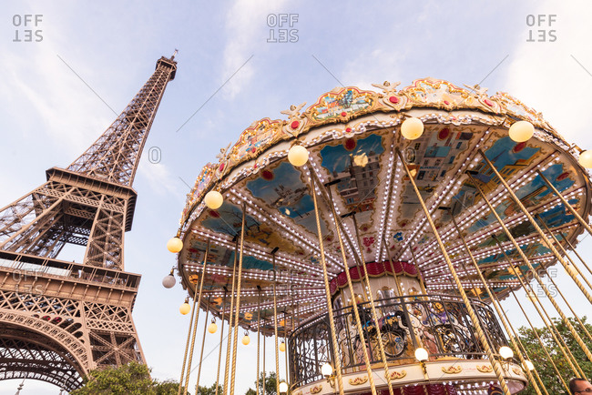Eiffel Tower and Carousel in the daytime, Paris