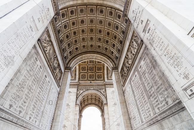 Arch and interior of the Arc de Triomphe, Paris