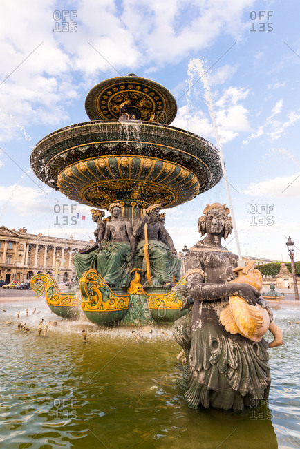 Water fountains flowing in Place de la Concorde, Paris