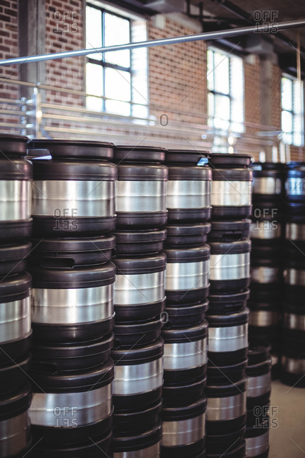 Stacks of beer barrels at the local brewery