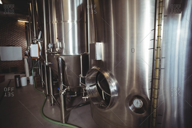 Large steel vats for beer at the local brewery