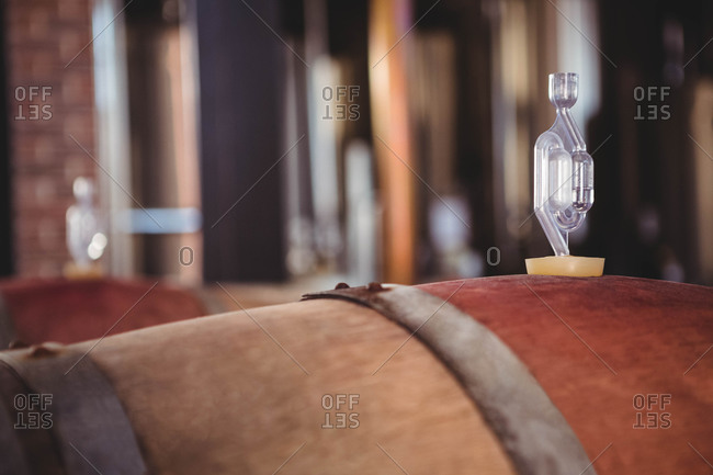 Wooden barrels of wine fermenting on wine farm