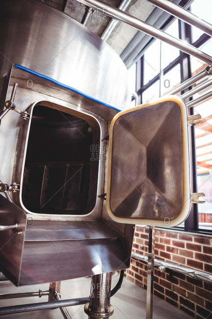 Large silver vat for beer making at microbrewery