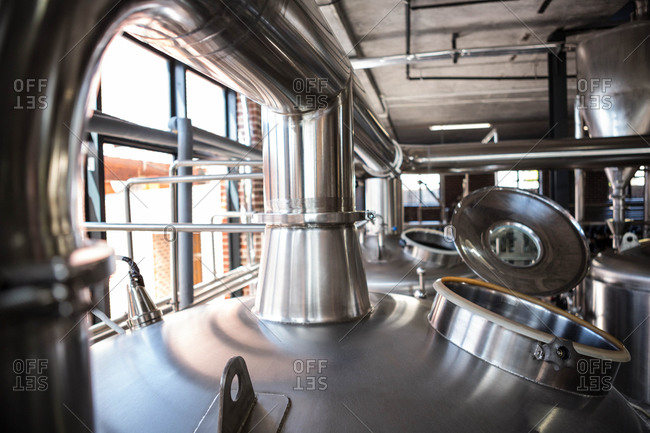 Large vats of beer at the local brewery