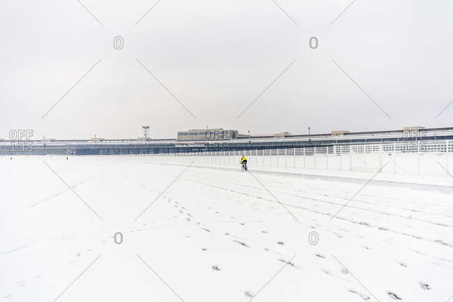 A cyclist at Tempelhof Park in Berlin, Germany