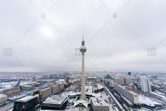 An aerial view of the TV Tower on a winter day at Alexanderplatz in Berlin, Germany