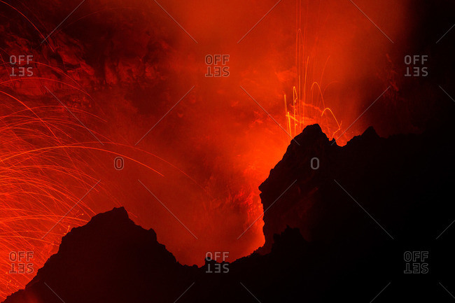 Erupting volcano of Mt. Stromboli in Sicily