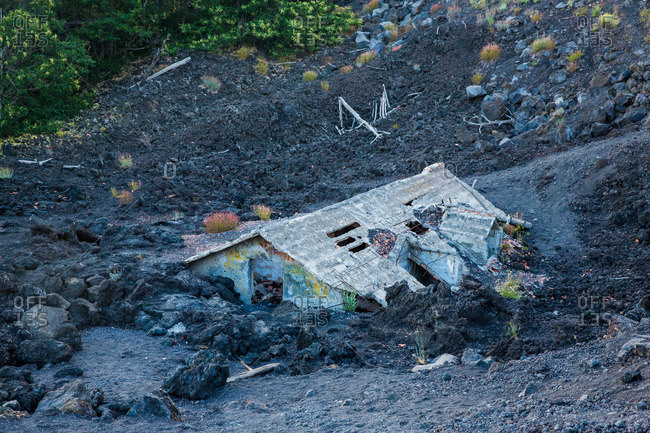 House buried by Etna\'s lava, Sicily, Italy