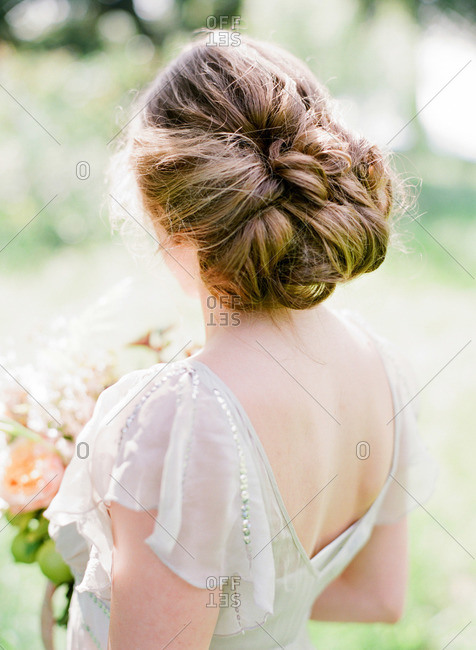 Bride with a swoop bun hairstyle