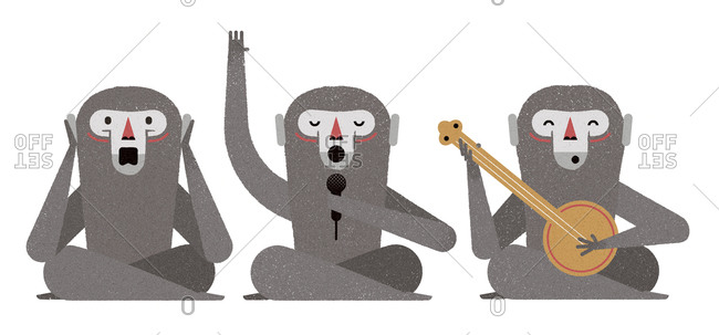 Three monkeys sitting on the floor, one singing, one playing the banjo and the other covering its ears
