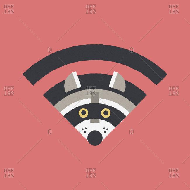 A raccoon inside a wi-fi symbol