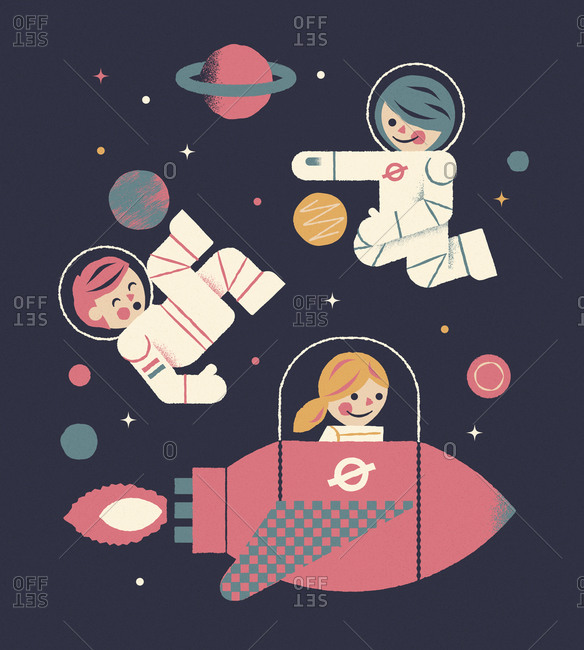 Three astronaut kids floating and having fun in space