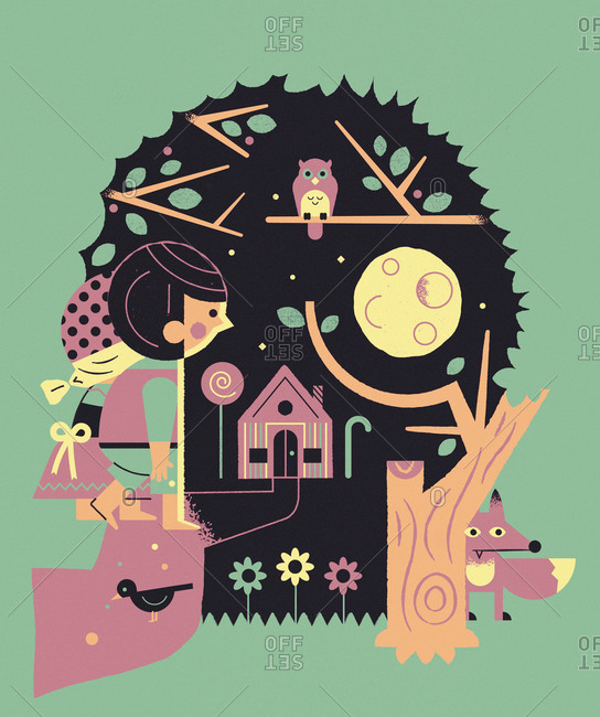A girl and a boy walking towards a candy house in the forest at night, in skull shape