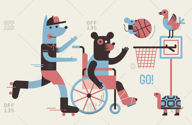 A group of anthropomorphic animals playing basketball