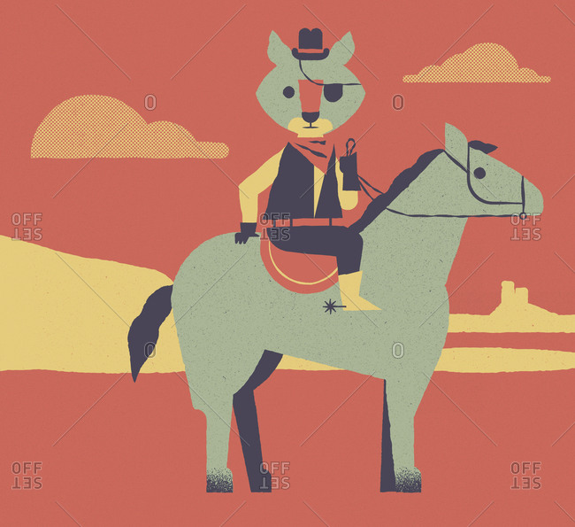 An anthropomorphic cowboy coyote riding a horse