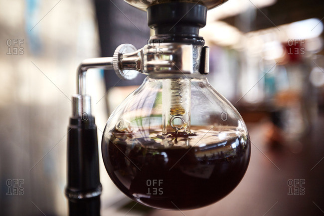 Close-up of a siphon coffee maker