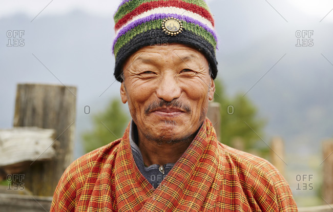 Kingdom of Bhutan - October 31, 2015: Portrait of a mature man smiling