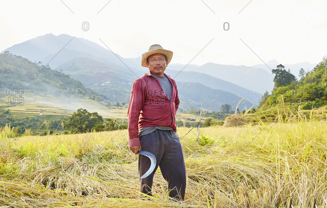 Kingdom of Bhutan - November 1, 2015: Farmer standing in a field holding a scythe