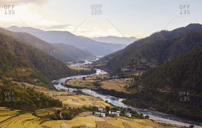 View of a picturesque mountain valley and winding river