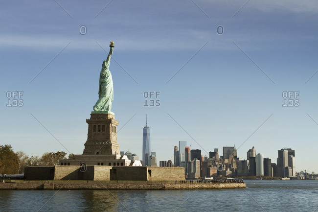 Liberty Island in New York City, Manhattan in background