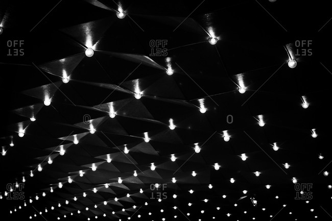Light bulbs on the ceiling of a theatre